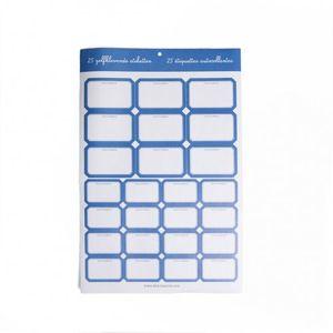 Etiquettes pour confitures, bord bleu, 25 pcs
