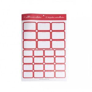 Etiquettes pour confitures, bord rouge, 25 pcs