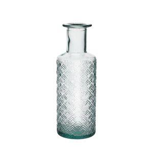 Fles met reliëf, gerecycled glas