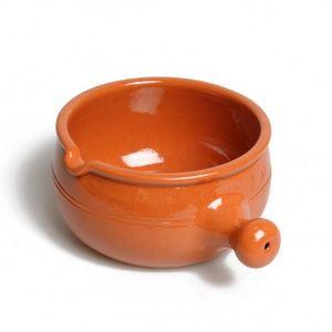 Fonduetopf/Caquelon mit Griff, klein, rotes Steingut