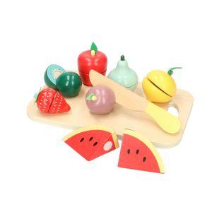 Fruits en bois à découper, bois, 9 pièces, 3+