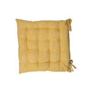 Galette de chaise, coton bio, jaune chiné, 40 x 40 cm
