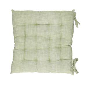 Galette de chaise, coton bio, vert chiné, 40 x 40 cm