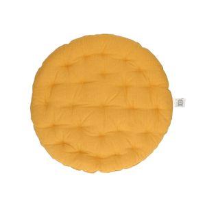Galette de chaise, rond, coton bio, ocre jaune