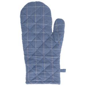 Gant de cuisine, coton bio, bleu denim carreaux, 18 x 32 cm
