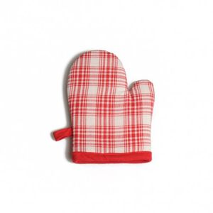 Gant de cuisine pour enfant en coton à carreaux rouges