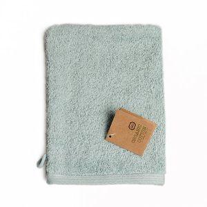 Gant de toilette, coton bio, vert céladon, 20 x 15 cm