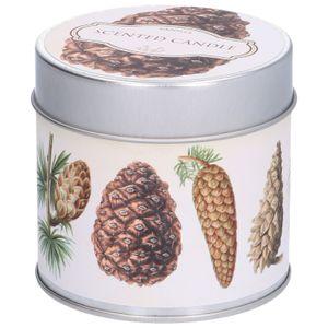 Geurkaars vanille, blikje met dennenappelprint