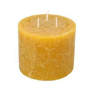 Grande bougie ronde, moutarde, Ø 12 cm