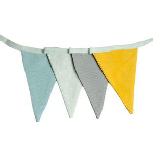 Guirlande de drapeaux, coton, jaune/bleu, 6 m
