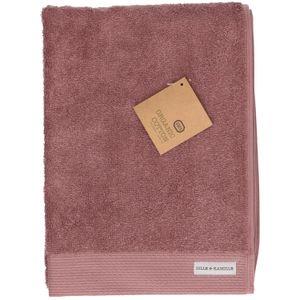 Handdoek, bio-katoen, grijs/roze, 50 x 100 cm