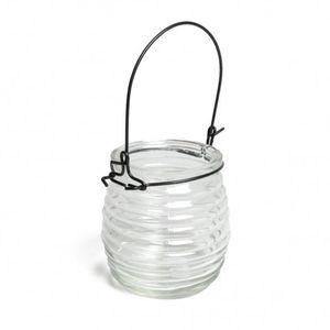 Hangglas bol, glas met horizontale ribbels