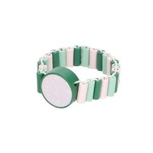 Horloge, hout, roze/groen. 3+