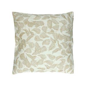 Housse de coussin, coton bio, blanc à motif de feuillage, 45 x 45 cm