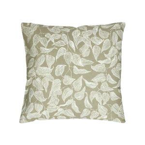 Housse de coussin, coton bio, vert à motif de feuillage, 45 x 45 cm