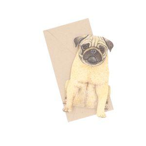 Kaart 3D met envelop, mopshond