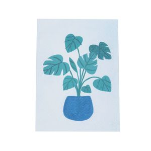Kaart, groene plant in pot
