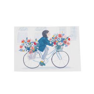 Kaart, meisje op fiets