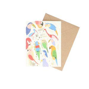 Kaart met envelop, verjaardag, tropische vogels