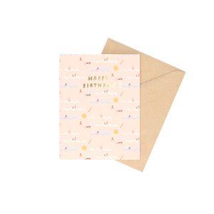 Kaart met envelop, verjaardag, zwemmen