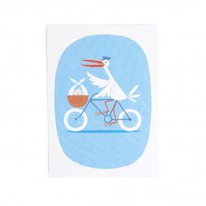Kaart, ooievaar op fiets, blauw