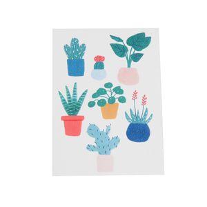 Kaart, plantjes in pot