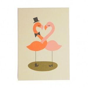 Kaart, verliefde flamingo's