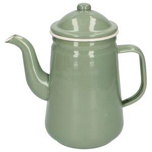 Kaffeekanne, Emaille, graugrün, 1,3 Liter