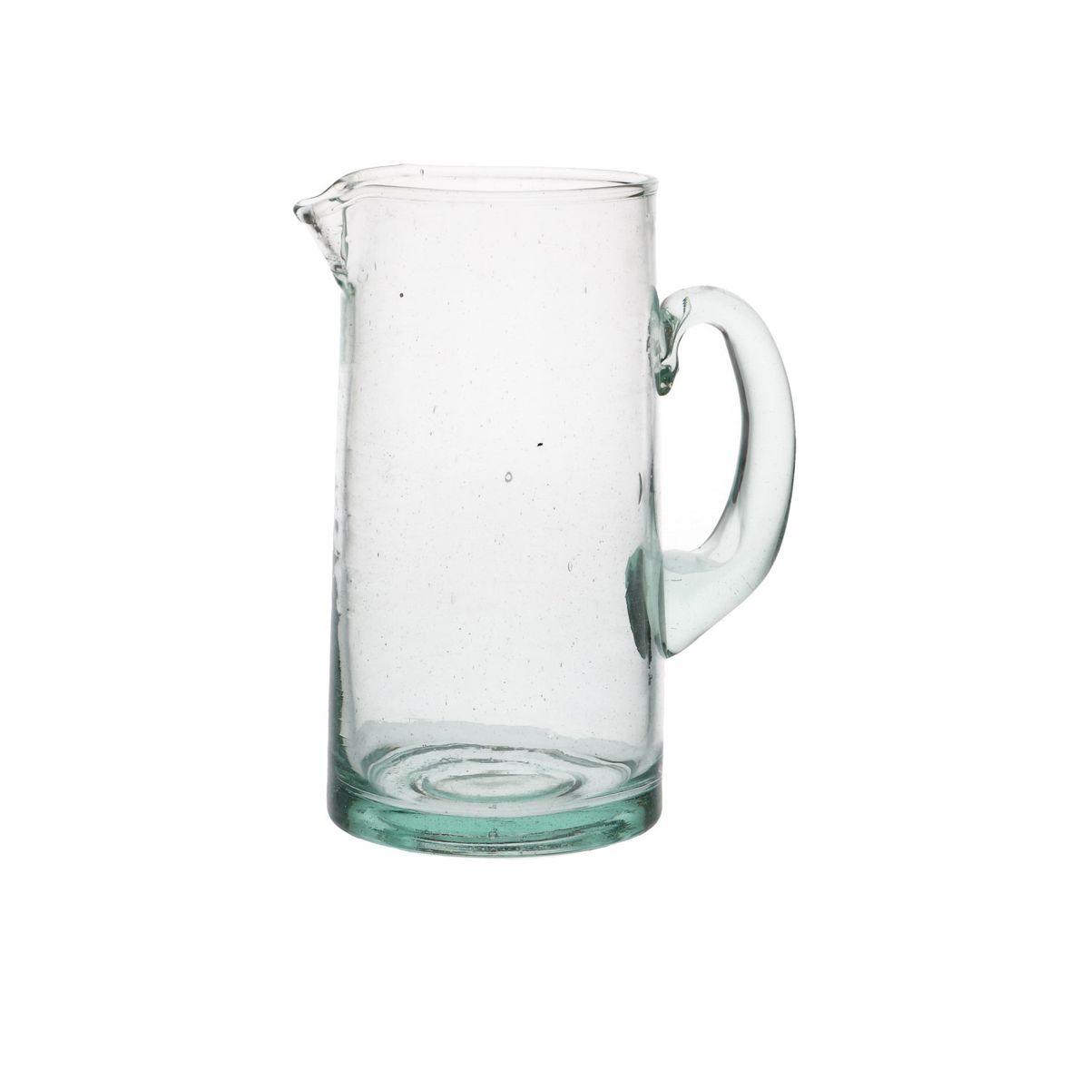 Karaf, groen glas, recht