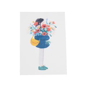 Karte, Mädchen mit Blumenstrauß