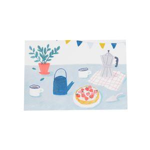 Karte, Torte auf dem Tisch