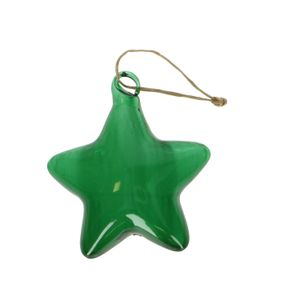 Kersthanger ster, glas, donkergroen, 10 x 8,5 cm