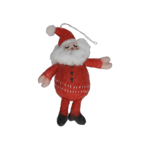Kersthanger zingende kerstman, vilt, 14 cm