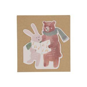 Kerstkaart + envelop, beer en konijn