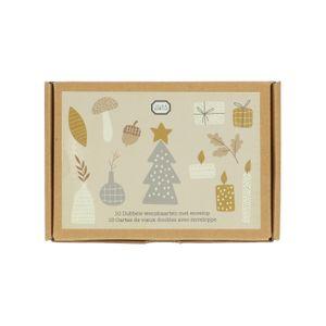 Kerstkaarten met envelop, kerstprint, doosje met 10 stuks