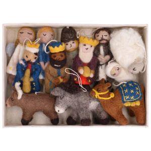 Kerststal set, vilt, 12 verschillende figuurtjes