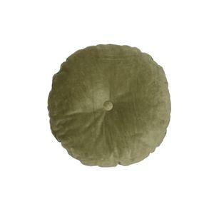 Kissen, Samt, moosgrün, Ø 40 cm