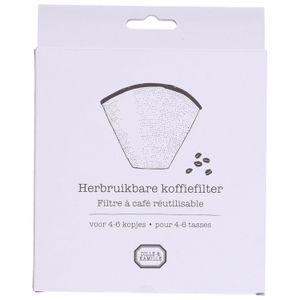Koffiefilter herbruikbaar, RVS, 4-6 kopjes