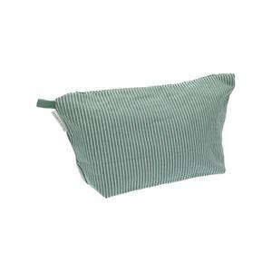 Kulturbeutel, Bio-Baumwolle, grün-weiß gestreift, groß