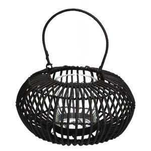 Lanterne, rotin, noir, Ø 21 x 12 cm
