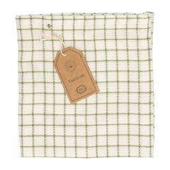 Lavette, coton bio, à carreaux blanc/vert olive