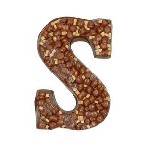 Lettre en chocolat, chocolat au lait, biscuits epicés/fudge/pépites de caramel/meringue, 210 g
