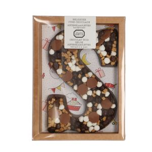 Lettre en chocolat, chocolat noir, biscuit épicés/fudge/pépites de caramel/meringue, 210 g