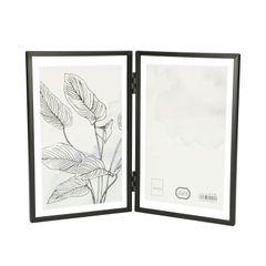 Lijstje tweeluik, metaal, zwart, 2x 10 x 15 cm