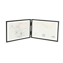 Lijstje tweeluik, metaal, zwart, 2x 15 x 10 cm