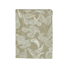 Loper, bio-katoen, groen met bladmotief, 50 x 150 cm