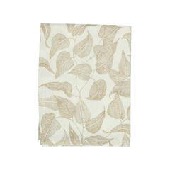 Loper, bio-katoen, wit met taupe bladmotief, 50 x 150 cm