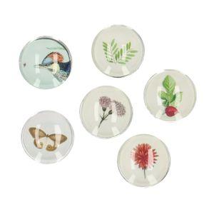 Magneten, glas, museumprentjes, set van 6 stuks