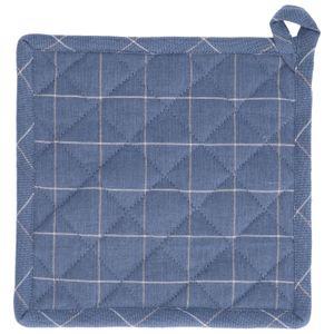 Manique, coton bio, bleu denim carreaux, 20 x 20 cm