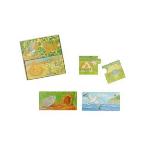 Mini-puzzles 'Qui vit où ?', bois, 2+